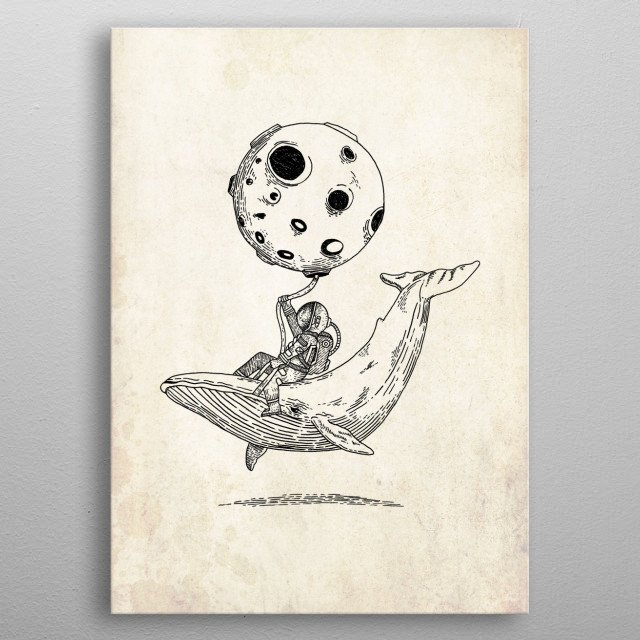 ocean and cosmic inspired astronaut flying with the moon metal poster