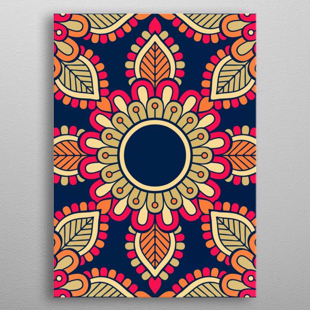 Mandala Colorful Flower Nature Poster Print Metal Posters