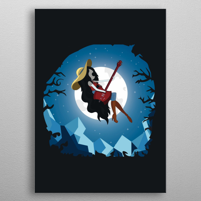 Marceline the Vampire Queen from Adventure Time playing bass and singing in the full moon night sky with the Ice Kingdom in the background. metal poster