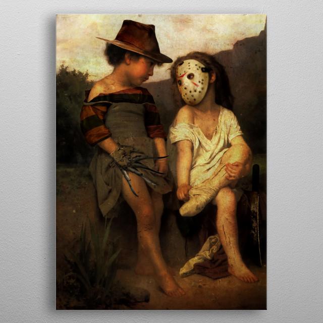 Jason vs Freddy Krueger Childhood Parody metal poster
