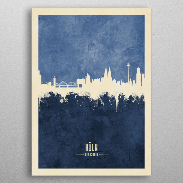 Watercolor art print of the skyline of Cologne, Germany (Köln)  metal poster