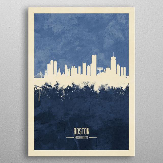 Watercolor art print of the skyline of Boston, Massachusetts, United States metal poster