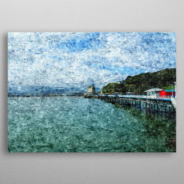 Abstract impressionistic digital artwork based on a photograph of the very long pier in Llandudno, North Wales, hugely popular with tourists metal poster