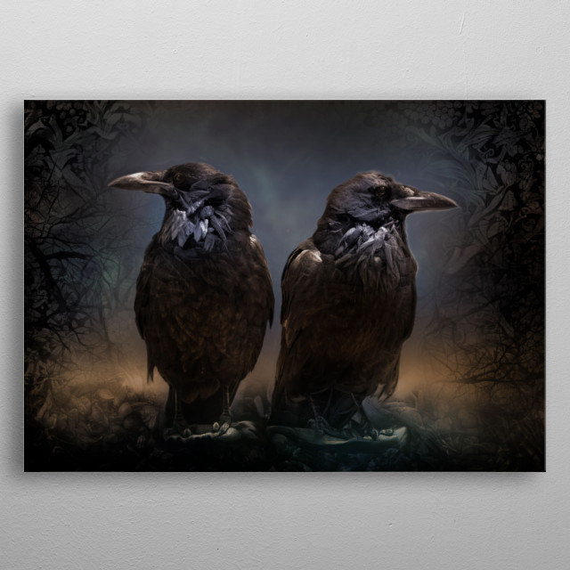The two ravens of Odin, Memory and Future. metal poster