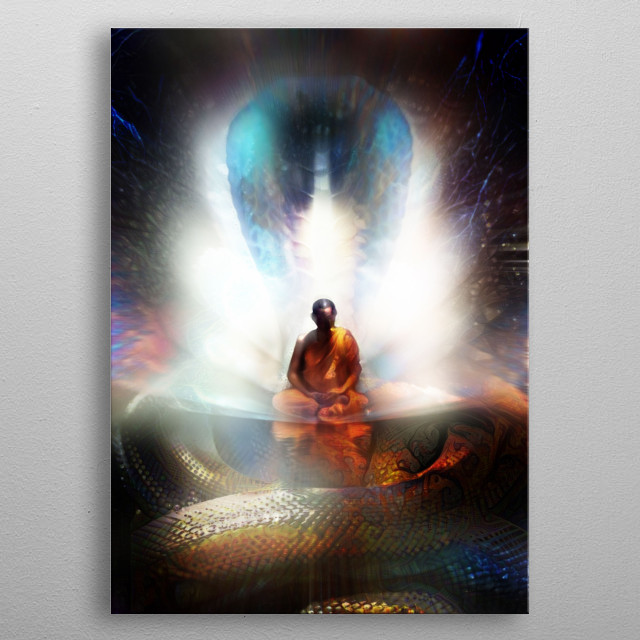 The story about the enlightenment of Buddha and a cobra protecting him from the rain sitting under a tree - metal poster