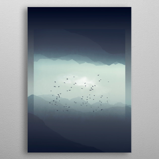 Misty mountains with their digital reflection - manipulated photograph metal poster