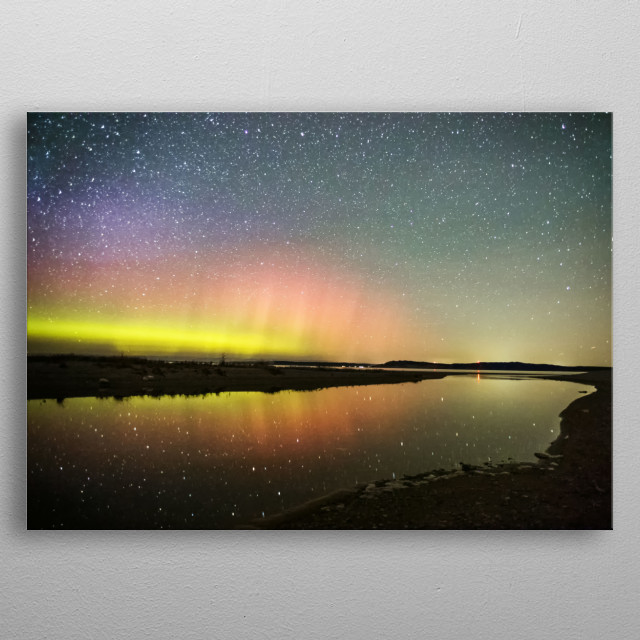 This Auroral shot was taken along Platte River in Sleeping Bear National Park.  Sleeping Bear is located in picturesque Northern Michigan. metal poster