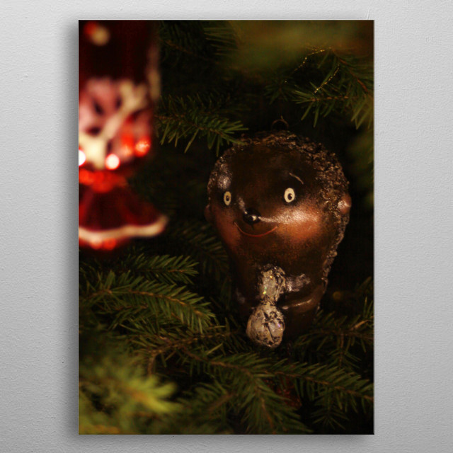 The little lonely hedgehog is lost in the forest. His eyes are excitedly staring at the candy.  metal poster