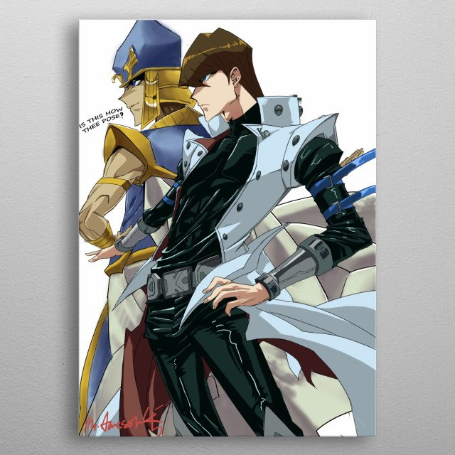 priest seto side by side with modern kaiba boy metal poster