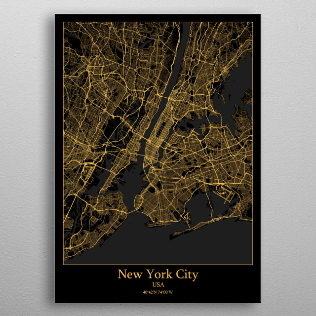 New York City  USA metal poster