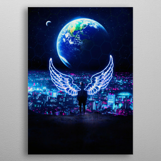 new world blue wings metal poster