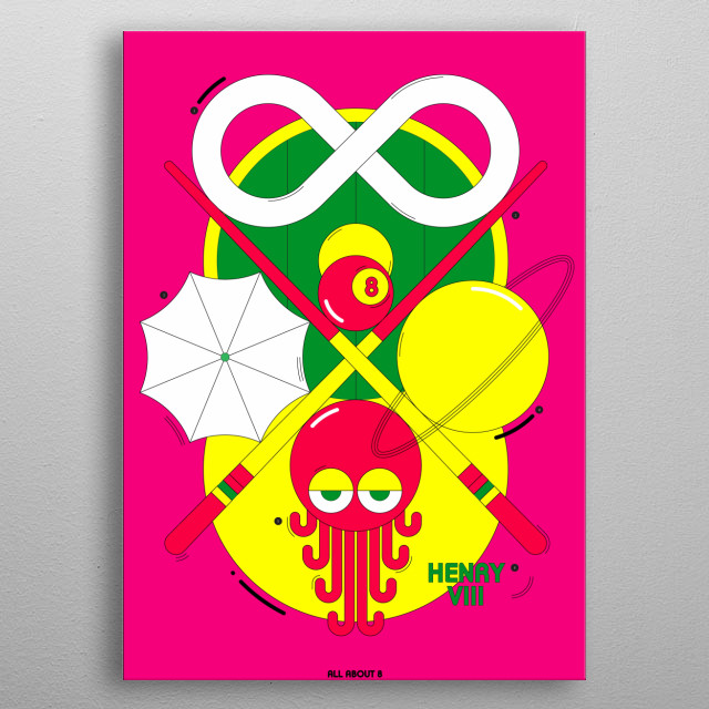 Illustrations depicting a variety of things that describe the number 8. Octopus, Enfinity, Umbrella, 8 hole snooker metal poster