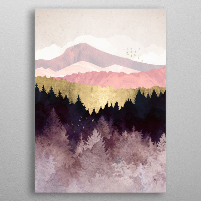 Abstract landscape of a plum colored forest with birds, mountains and gold metal poster