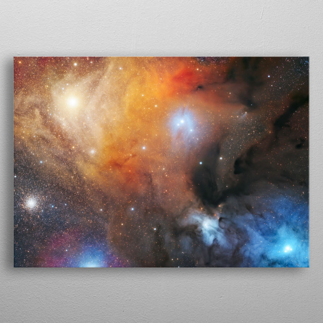 The Rho Ophiuchi cloud complex is a dark nebula of gas and dust that is located near the star ρ Ophiuchi of the constellation Ophiuchus.  metal poster
