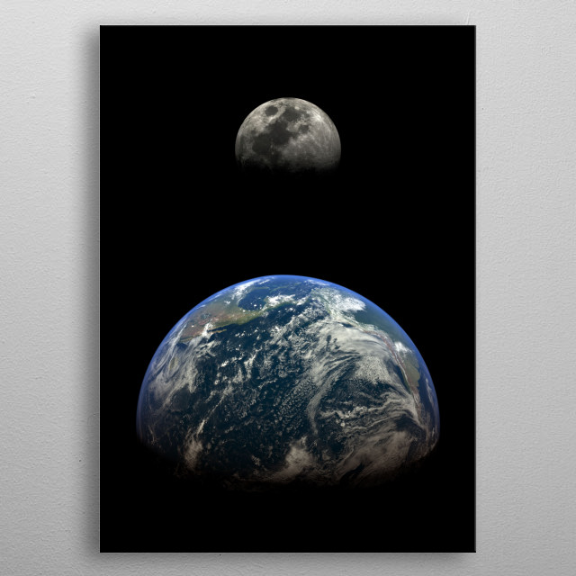 Earth and Moon view from space metal poster