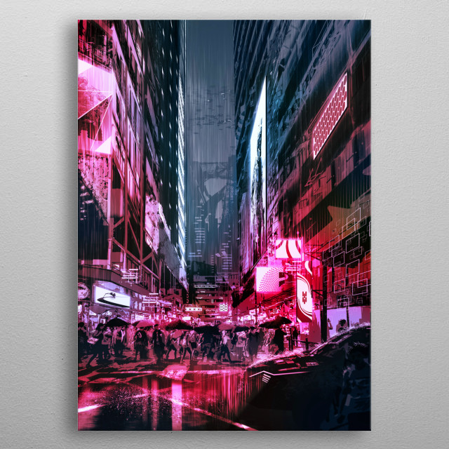 A neon lit city street in the not too distant future! metal poster