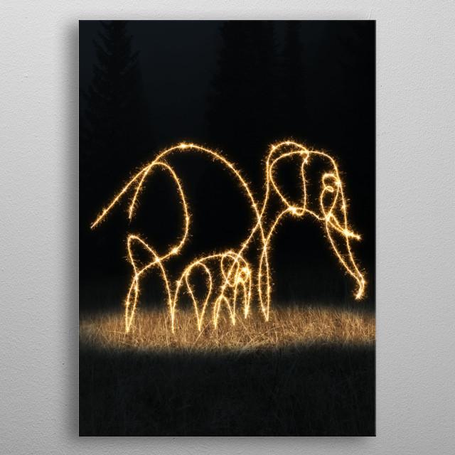 sparkling elephant metal poster