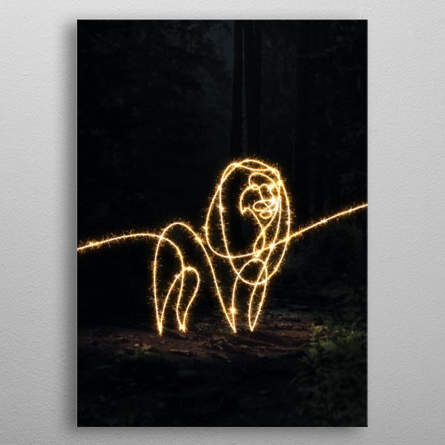 sparkling lion metal poster