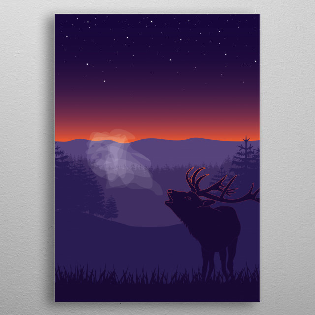 Illustration of the wild deer in nature. metal poster