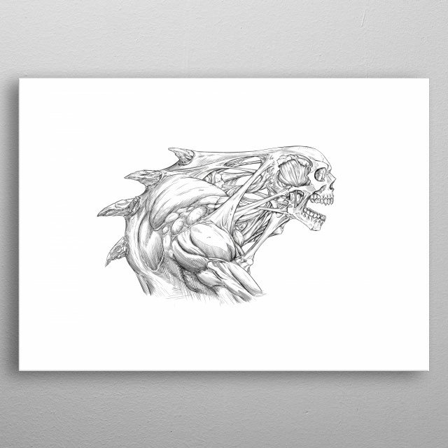 Line art of a skull creature metal poster