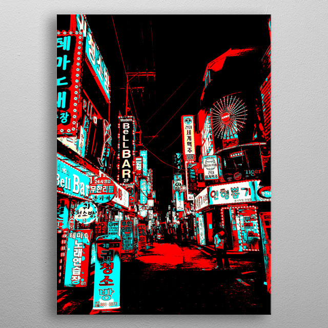 A busy street of Seoul, South Korea; edited to be mainly the colors of red and blue.  The contrast was enhanced, making it more surreal.  metal poster