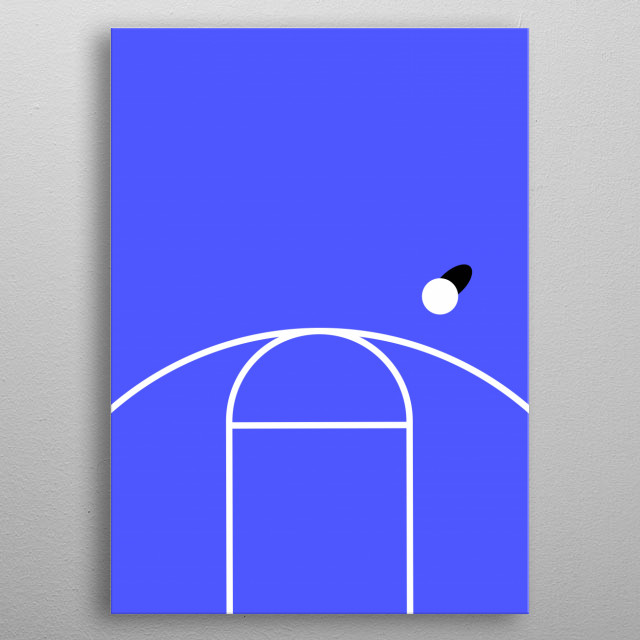Digital illustrated basketball court with a minimalism approach. metal poster