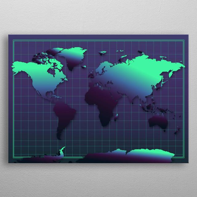 World map modern,dark purple,blue,pop art design metal poster