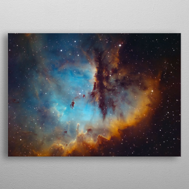 The Pacman is a bright emission nebula and part of an H II region in the northern constellation of Cassiopeia. metal poster