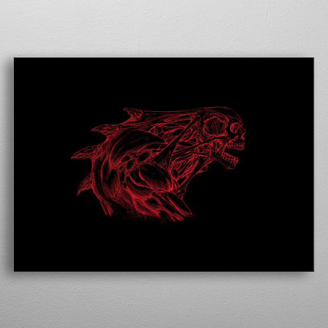 line art of a skull creature metal poster