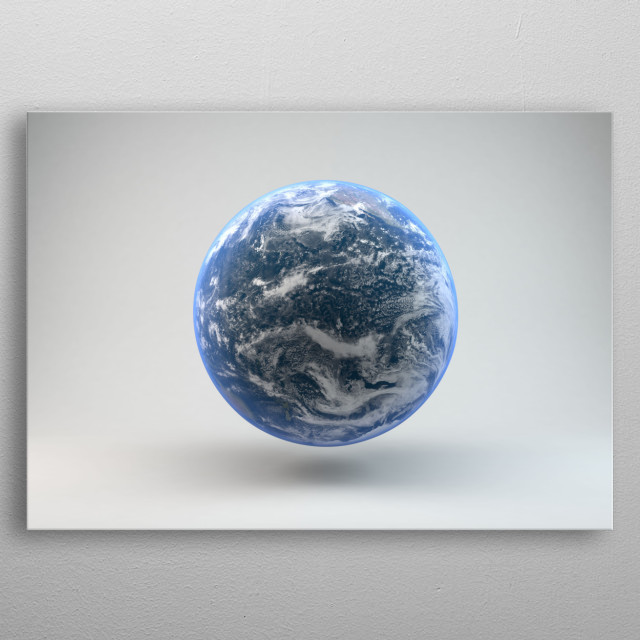 Planet Earth white background metal poster
