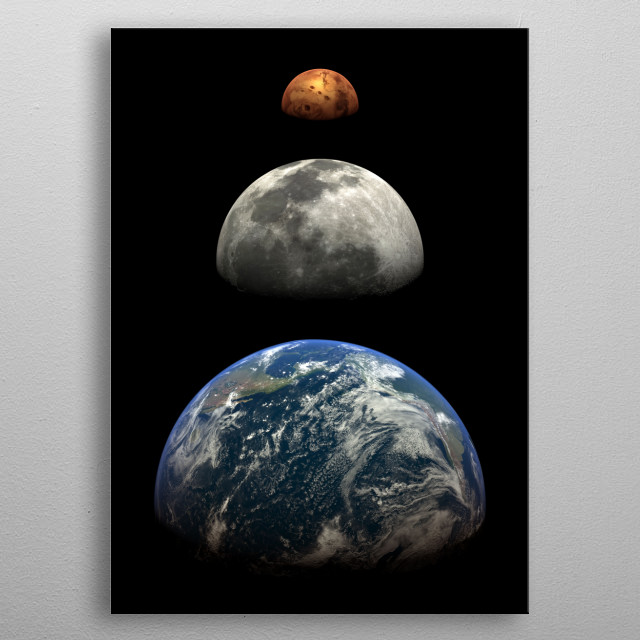3 planets line up Earth, Moon and Mars view from space.  metal poster