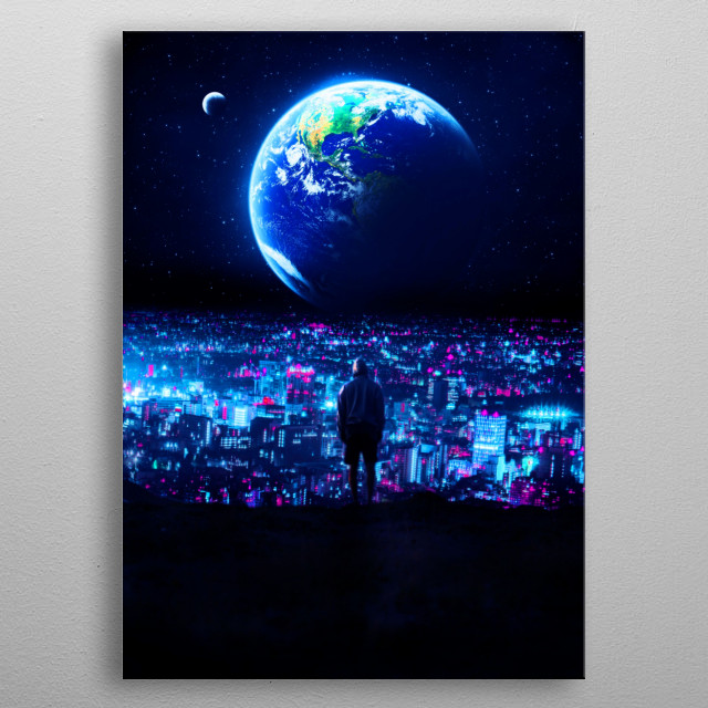new blue planet metal poster