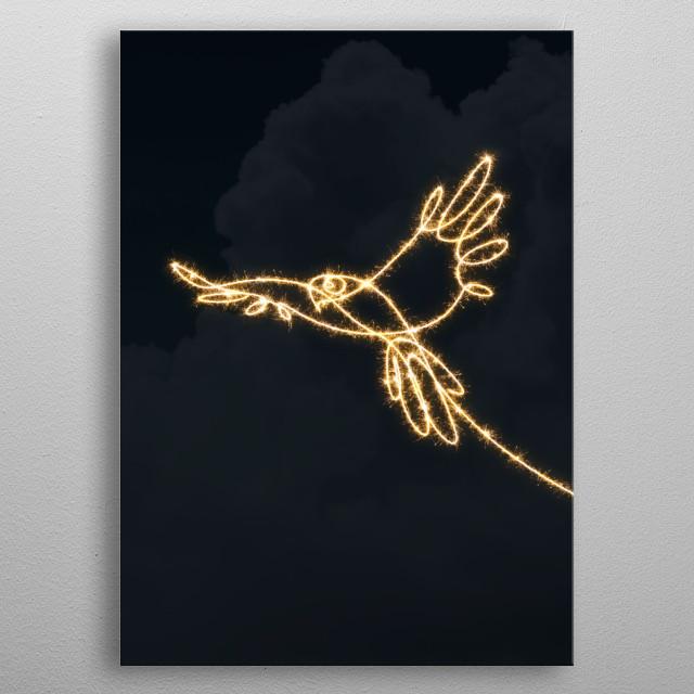 sparkling parrot metal poster
