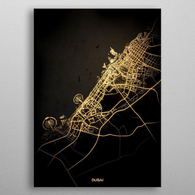 Dubai City Lights Map metal poster