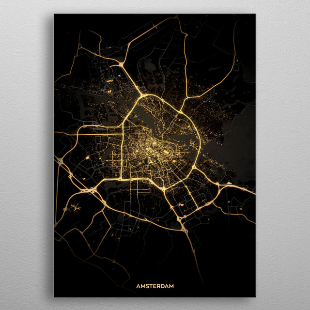 Amsterdam City Lights Map metal poster