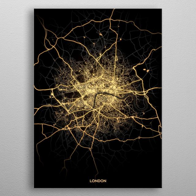 London City Lights Map metal poster