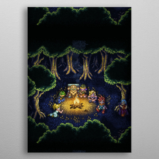 Chrono Camping by Likelikes metal poster