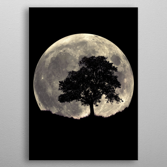 Illustration of a silhouette tree. The moon behind exaggerates the detailing of the tree and individual leaves. metal poster