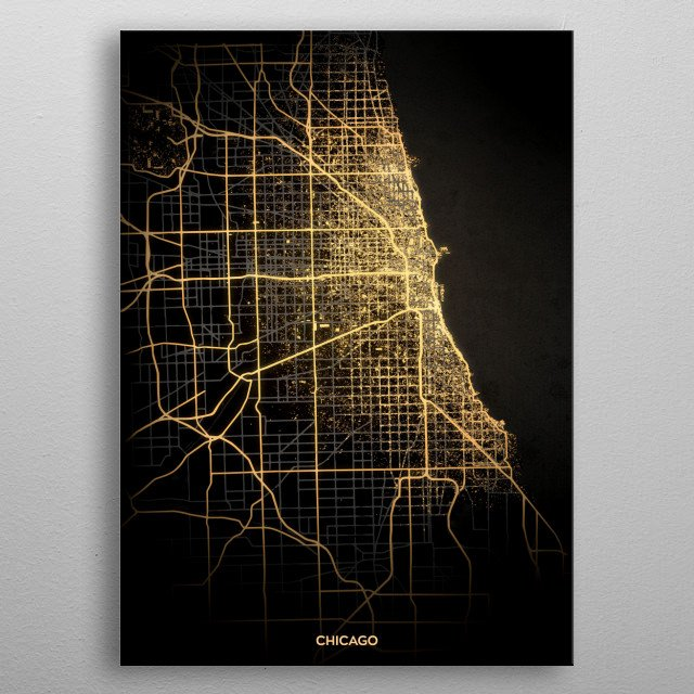 Chicago City Lights Map metal poster