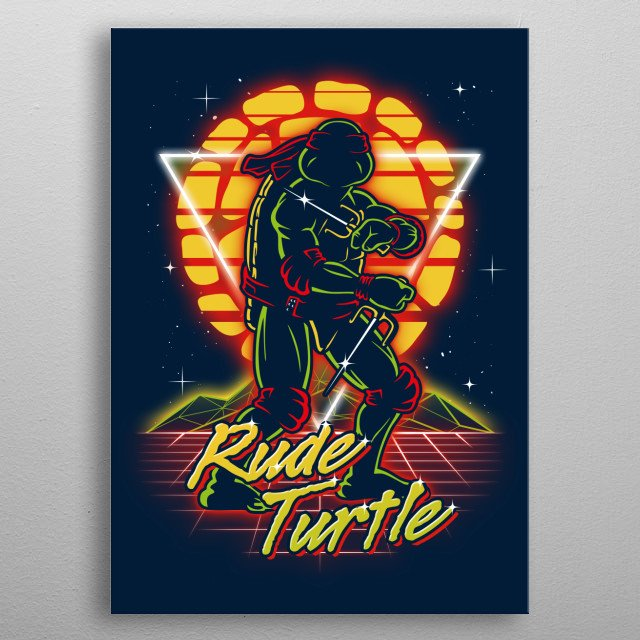 Rude turtle retro style from the 80s. metal poster