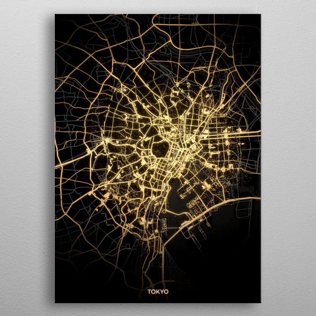 Tokyo City Lights Map metal poster