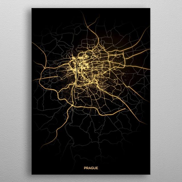 Prague City Lights Map metal poster
