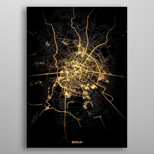 Berlin City Lights Map metal poster