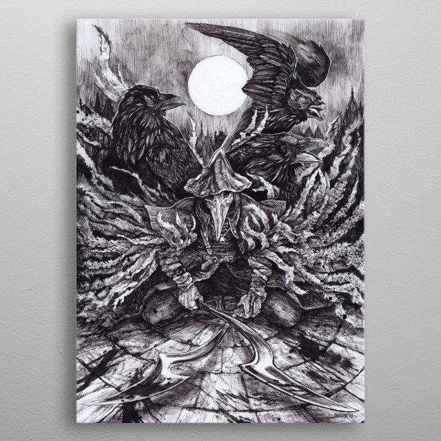 From Bloodborne    Daler Rowney A4 Bristol Board    Kuretake school nib, black ink 60, white ink 30 metal poster
