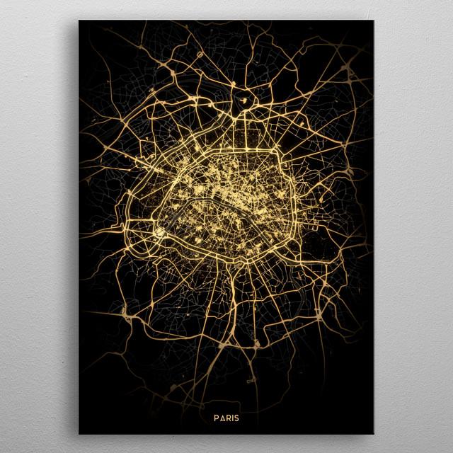 Paris City Lights Map metal poster