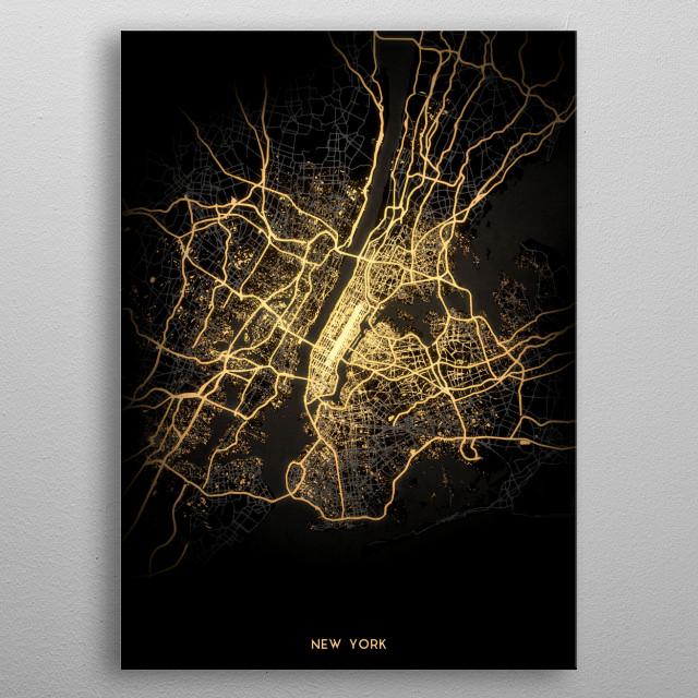New York City Lights Map metal poster
