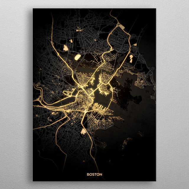 Boston City Lights Map metal poster