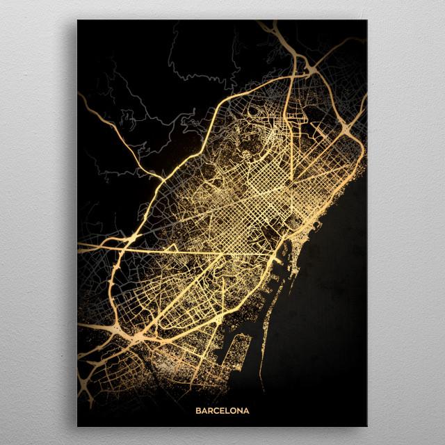 Barcelona City Lights Map metal poster
