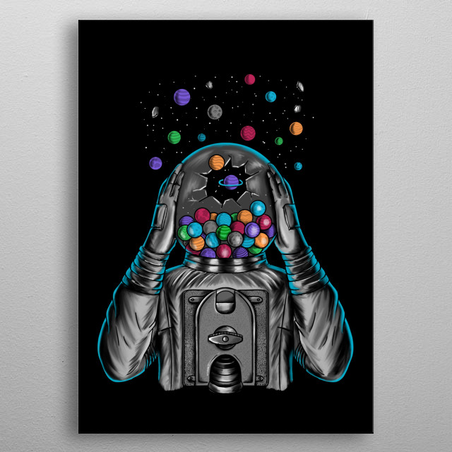 Astronaut explosion planets. Inspired by the space. metal poster