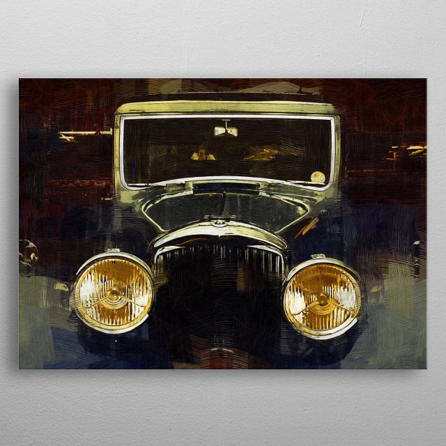 Gothic style digital painting of a vintage car metal poster
